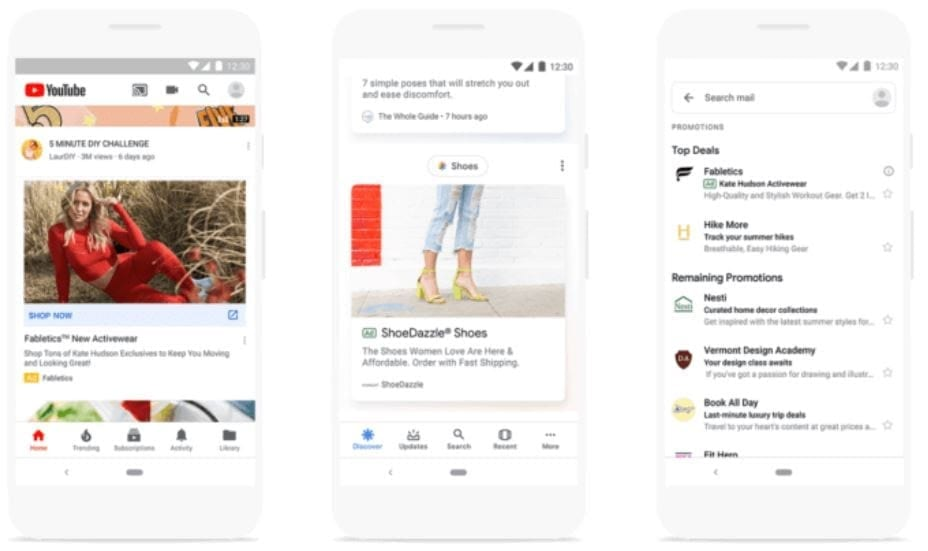 Discover ads on Youtube YouTube, Gmail and Google Discover feed.
