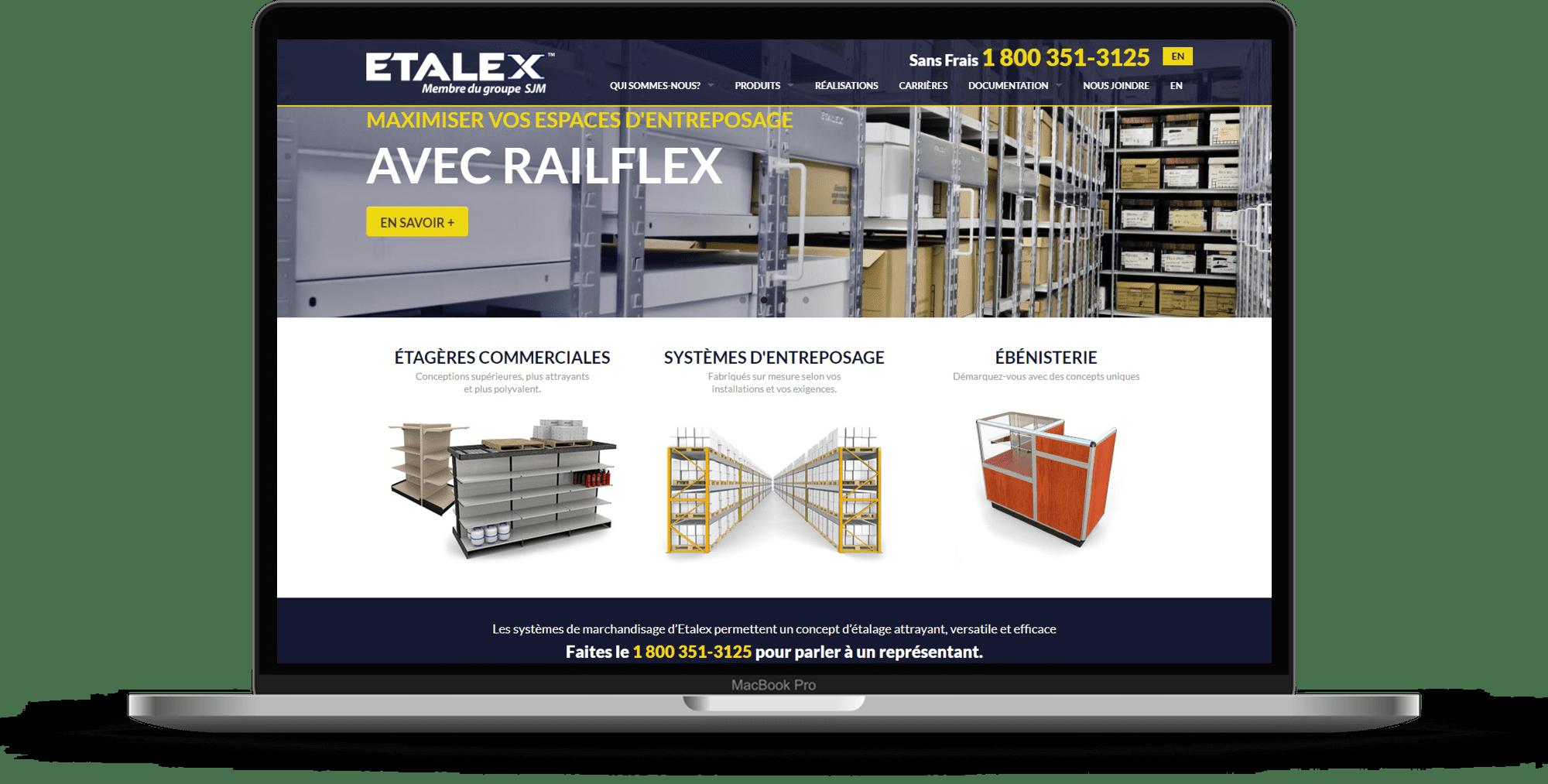 mockup site web etalex