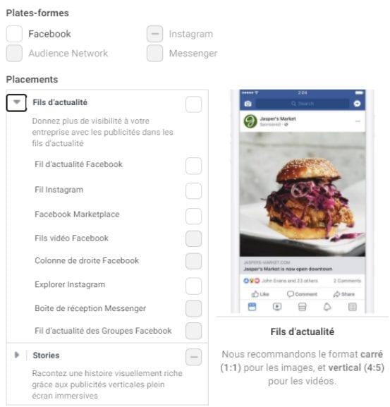 publicité Facebook Feed, publicité Instagram Feed, publicité Instagram Story/Stories et publicité Instagram Explore.