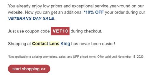 Contact Lens King - Rappel automatiquement envoyé par courriel
