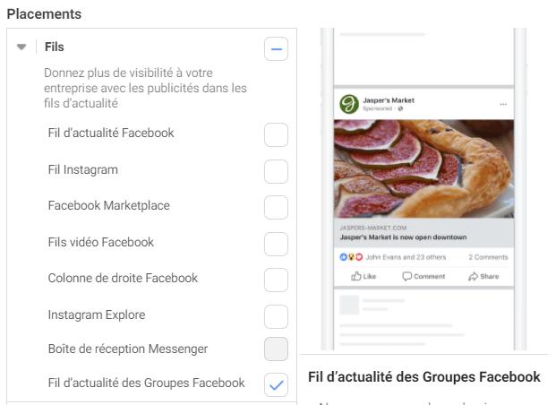 facebook ad placement fil d'actualité des groupes
