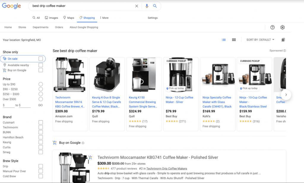 exemple de Google Shopping Ads pour e-commerce