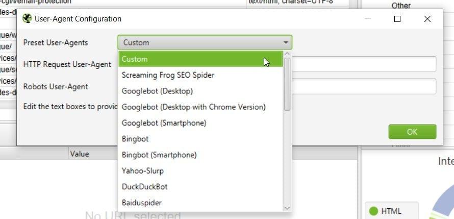 Changer de User Agent dans Screaming Frog