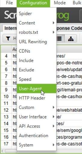 User Agent Screaming frog