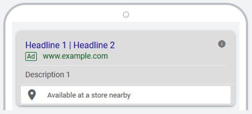 exemple d'extension de lieu affilié Google Ads