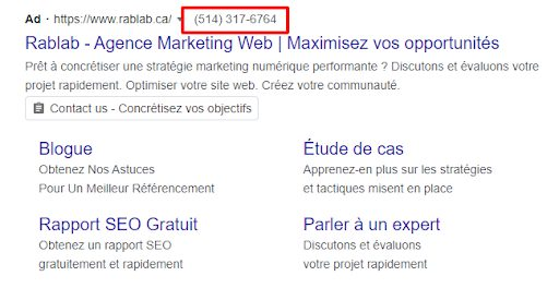 exemple d'extensions appel Google Ads
