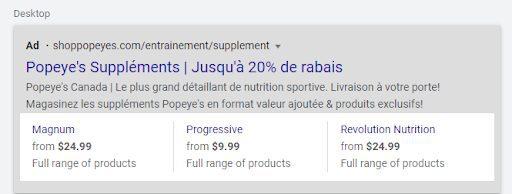 exemple d'extension prix Google Ads