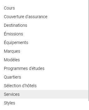 liste de snippets pour extensions Google Ads