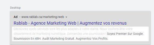 exemple d'extensions d'accroche Google Ads