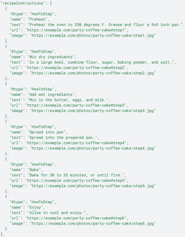 exemple de code JSON-LD pour les étapes de préparation d'une recette
