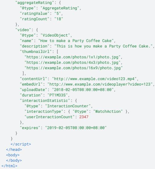 exemple de code JSON-LD pour la note et la vidéo d'une recette